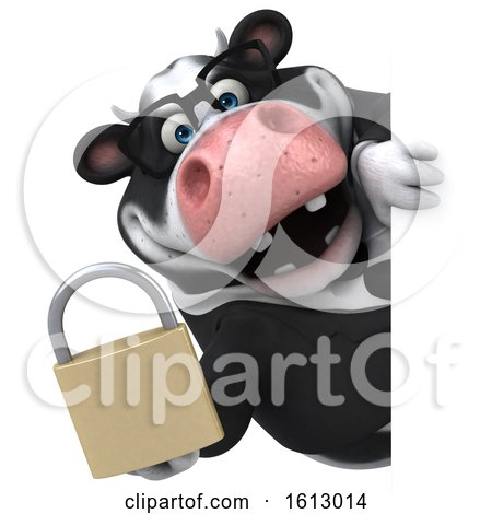Clipart of a 3d Business Holstein Cow Holding a Padlock, on a White Background - Royalty Free Illustration by Julos