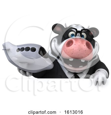 Clipart of a 3d Business Holstein Cow Holding a Plane, on a White Background - Royalty Free Illustration by Julos