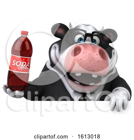 Clipart of a 3d Business Holstein Cow Holding a Soda, on a White Background - Royalty Free Illustration by Julos