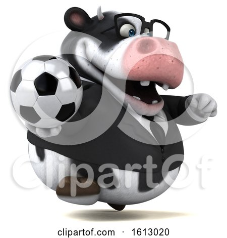 Clipart of a 3d Business Holstein Cow Holding a Soccer Ball, on a White Background - Royalty Free Illustration by Julos