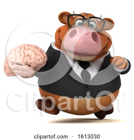 Clipart of a 3d Brown Business Cow Holding a Brain, on a White Background - Royalty Free Illustration by Julos