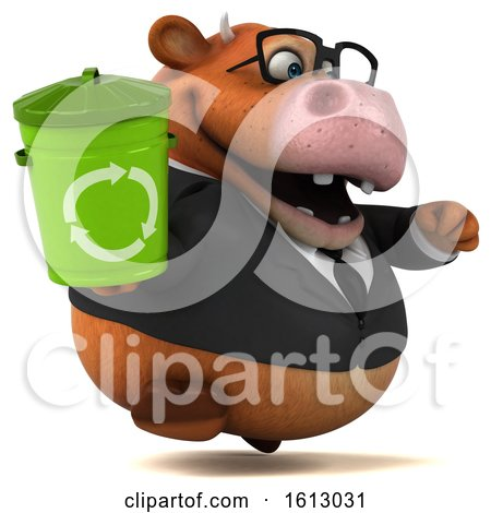 Clipart of a 3d Brown Business Cow Holding a Recycle Bin, on a White Background - Royalty Free Illustration by Julos