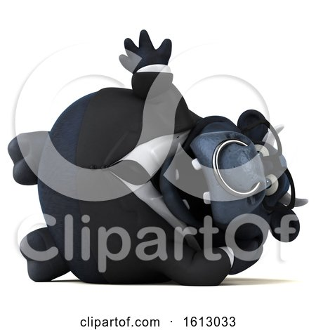 Clipart of a 3d Black Business Bull Resting and Waving, on a White Background - Royalty Free Illustration by Julos