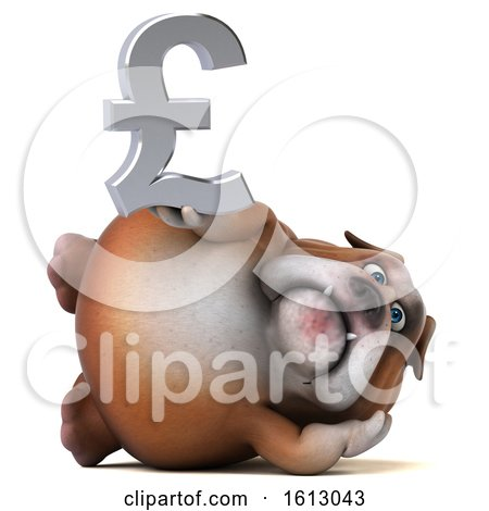 Clipart of a 3d Bulldog Holding a Pound Currency Symbol, on a White Background - Royalty Free Illustration by Julos