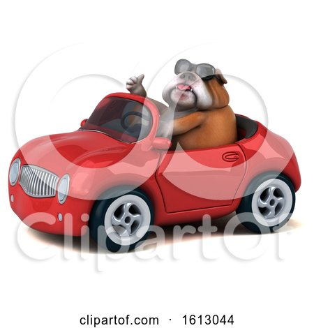Clipart of a 3d Bulldog Driving a Convertible, on a White Background - Royalty Free Illustration by Julos