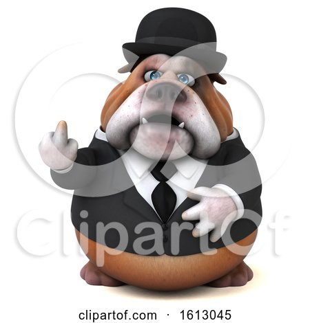 Clipart of a 3d Gentleman or Business Bulldog Holding up a Middle Finger, on a White Background - Royalty Free Illustration by Julos