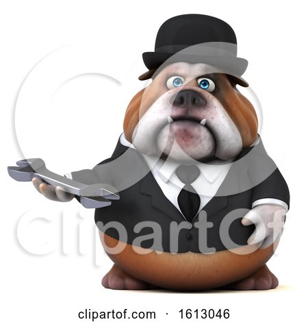 Clipart of a 3d Gentleman or Business Bulldog Holding a Wrench, on a White Background - Royalty Free Illustration by Julos