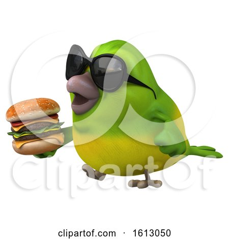 Clipart of a 3d Green Bird Holding a Burger, on a White Background - Royalty Free Illustration by Julos