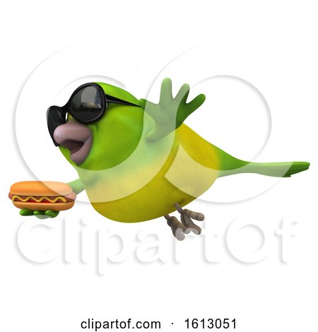 Clipart of a 3d Green Bird Holding a Hot Dog, on a White Background - Royalty Free Illustration by Julos