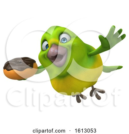Clipart of a 3d Green Bird Holding a Donut, on a White Background - Royalty Free Illustration by Julos