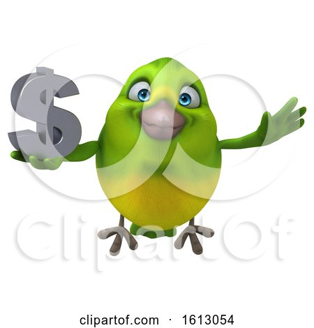 Clipart of a 3d Green Bird Holding a Dollar Sign, on a White Background - Royalty Free Illustration by Julos