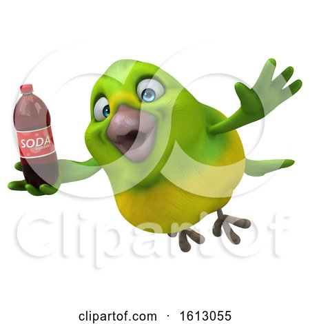 Clipart of a 3d Green Bird Holding a Soda, on a White Background - Royalty Free Illustration by Julos