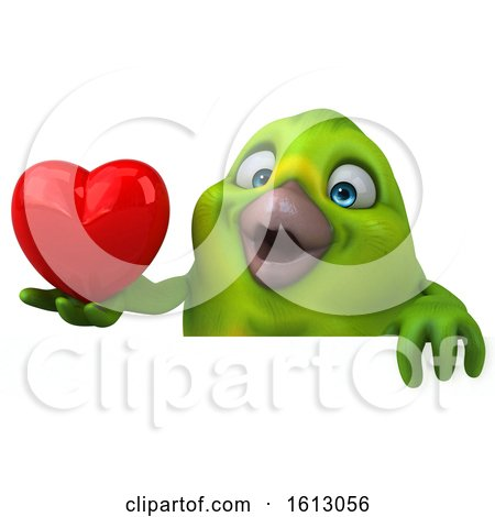 Clipart of a 3d Green Bird Holding a Heart, on a White Background - Royalty Free Illustration by Julos