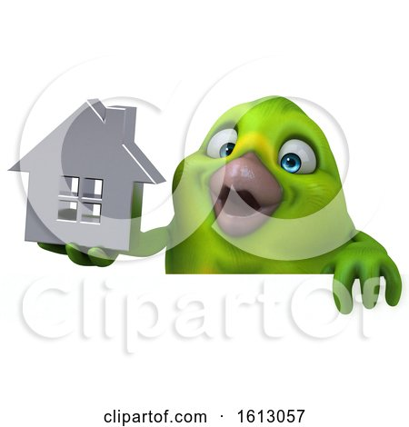Clipart of a 3d Green Bird Holding a House, on a White Background - Royalty Free Illustration by Julos