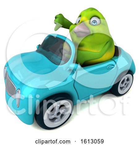 Clipart of a 3d Green Bird Driving a Convertible, on a White Background - Royalty Free Illustration by Julos