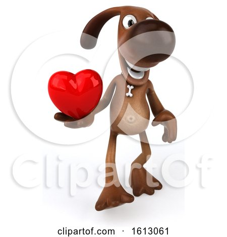 Clipart of a 3d Brown Chocolate Lab Dog Holding a Heart, on a White Background - Royalty Free Illustration by Julos