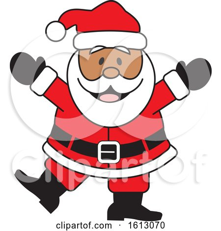 Clipart of a Happy Dancing Black Christmas Santa Claus - Royalty Free Vector Illustration by Johnny Sajem