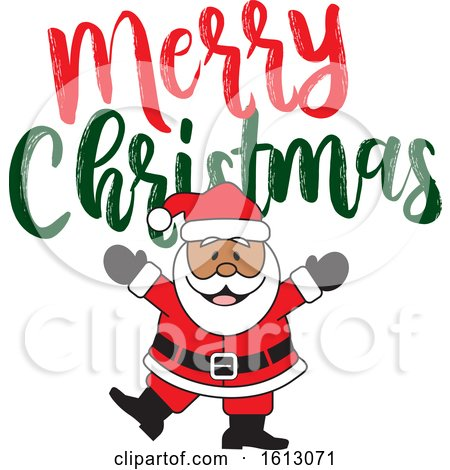 Clipart of a Happy Dancing Black Santa Claus with a Merry Christmas Greeting - Royalty Free Vector Illustration by Johnny Sajem