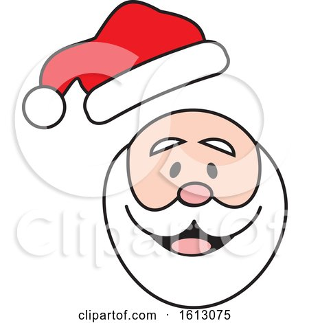 Clipart of a Happy White Christmas Santa Claus with His Hat Popping off - Royalty Free Vector Illustration by Johnny Sajem