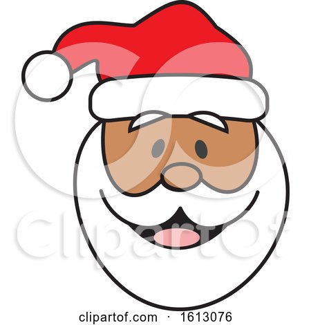 Clipart of a Happy Black Christmas Santa Claus Face - Royalty Free Vector Illustration by Johnny Sajem