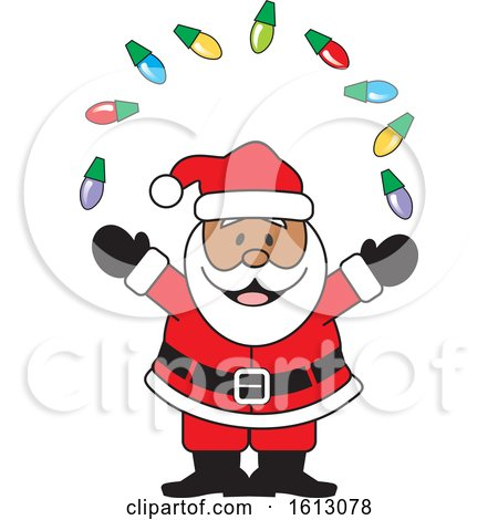 Clipart of a Happy Black Santa Claus Juggling Christmas Lights - Royalty Free Vector Illustration by Johnny Sajem