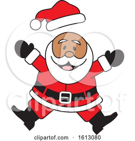 Clipart of a Happy Jumping Black Christmas Santa Claus - Royalty Free Vector Illustration by Johnny Sajem
