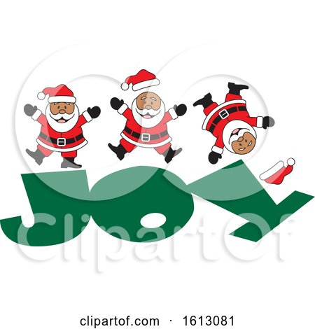 Clipart of a Happy Black Christmas Santa Claus Jumping on the Word Joy - Royalty Free Vector Illustration by Johnny Sajem