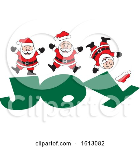 Clipart of a Happy White Christmas Santa Claus Jumping on the Word Joy - Royalty Free Vector Illustration by Johnny Sajem
