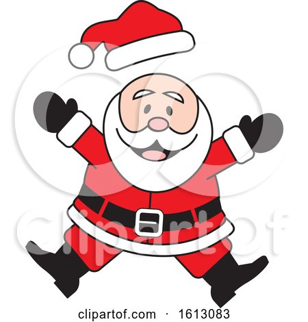 Clipart of a Happy Jumping White Christmas Santa Claus - Royalty Free Vector Illustration by Johnny Sajem