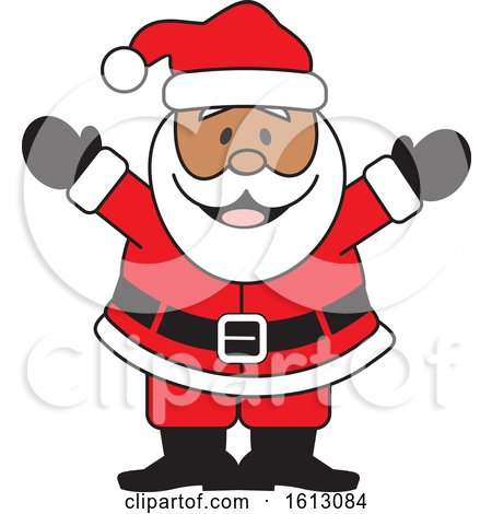 Clipart of a Happy Welcoming Black Christmas Santa Claus - Royalty Free Vector Illustration by Johnny Sajem