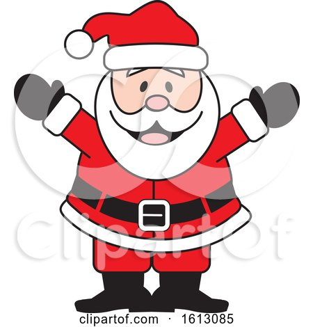 Clipart of a Happy Welcoming White Christmas Santa Claus - Royalty Free Vector Illustration by Johnny Sajem