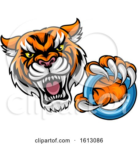 Clipart of a Vicious Tiger Sports Mascot Grabbing a Ringette Ring - Royalty Free Vector Illustration by AtStockIllustration