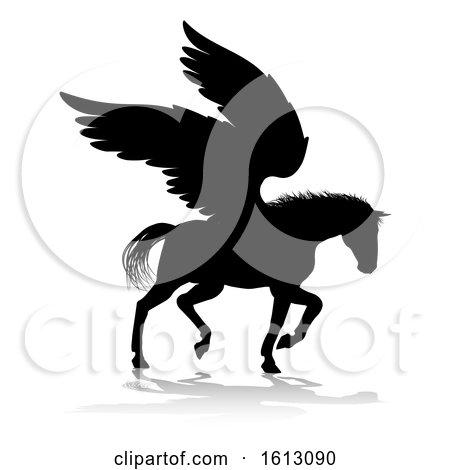 Pegasus Silhouette Mythological Winged Horse, on a white background by AtStockIllustration