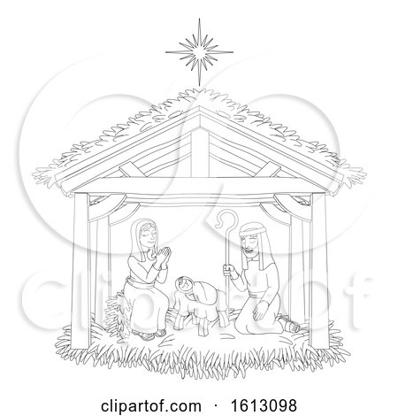 Christmas Nativity Scene Cartoon Coloring by AtStockIllustration