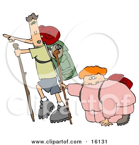 Skinny Man Carrying Hiking Gear And Using A Stick While Pointing Forwards, Trying To Motivate His Overweight Wife And To Get Her Into Better Health While Taking A Hike  Posters, Art Prints
