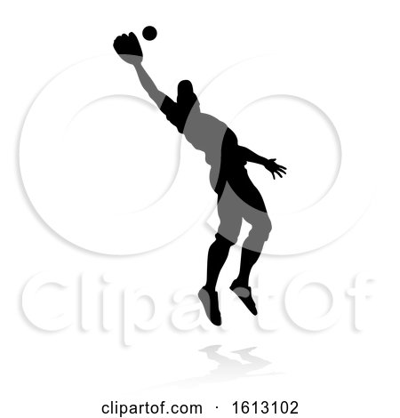 Baseball Player Silhouette, on a white background by AtStockIllustration