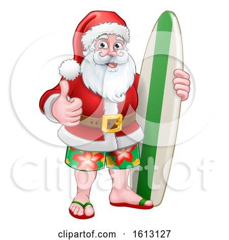 Christmas Santa Claus Surf Cartoon by AtStockIllustration