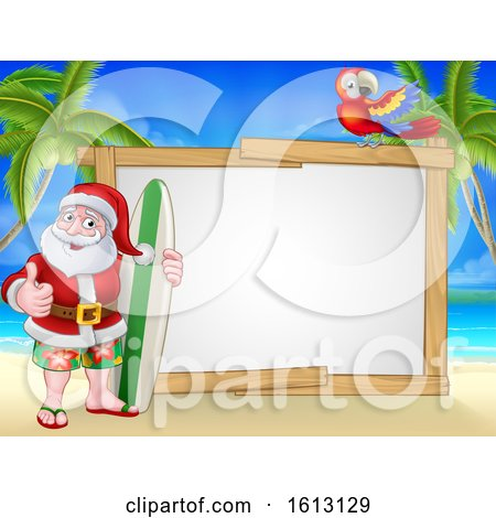 Santa Claus Surf Beach Christmas Cartoon Sign by AtStockIllustration