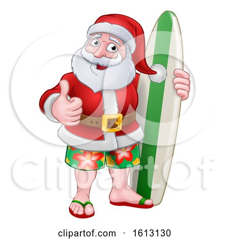 Santa Claus Surf Christmas Cartoon by AtStockIllustration
