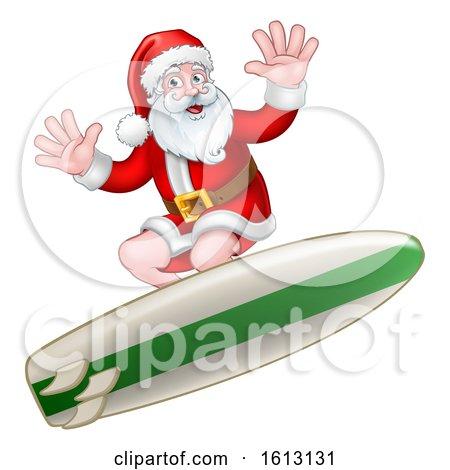 Santa Claus Surfing Christmas Cartoon by AtStockIllustration