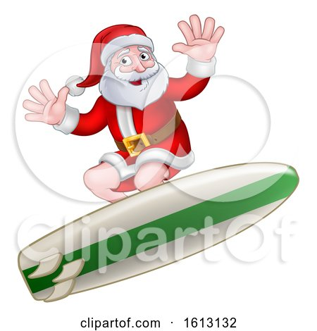 Christmas Santa Claus Surfing Cartoon by AtStockIllustration