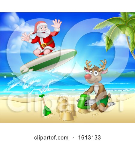 Santa Claus and Reindeer Christmas Beach Scene by AtStockIllustration