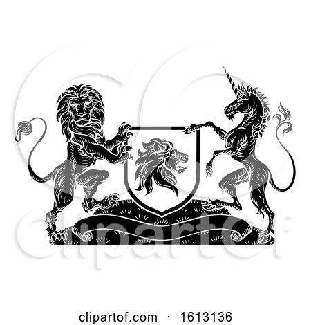 Crest Heraldic Lion Unicorn Shield Coat of Arms by AtStockIllustration