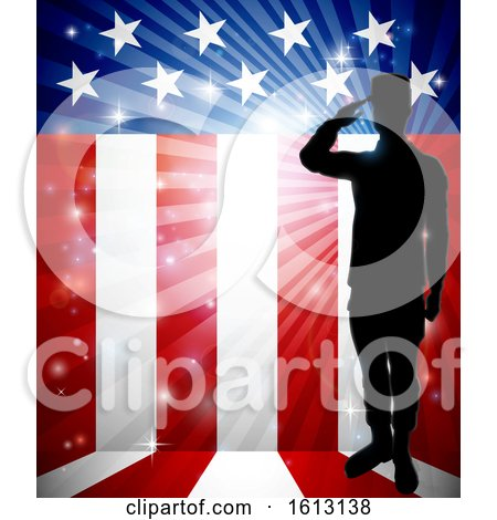 Patriotic Soldier Saluting American Flag by AtStockIllustration