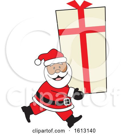 Clipart of a Happy Black Santa Clause Carrying a Giant Gift - Royalty Free Vector Illustration by Johnny Sajem