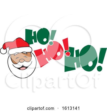 Clipart of a Black Santa Face and Ho Ho Ho Text - Royalty Free Vector Illustration by Johnny Sajem