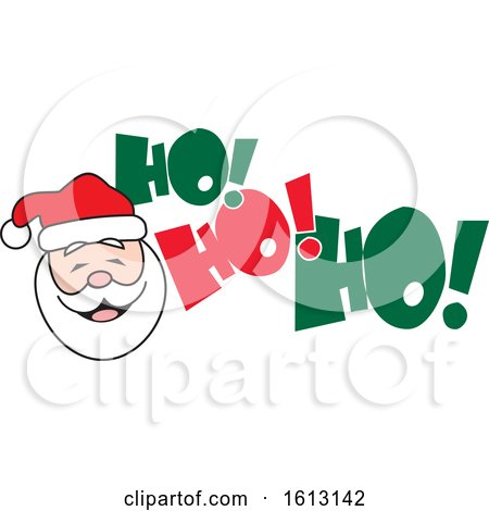 Clipart of a White Santa Face and Ho Ho Ho Text - Royalty Free Vector Illustration by Johnny Sajem