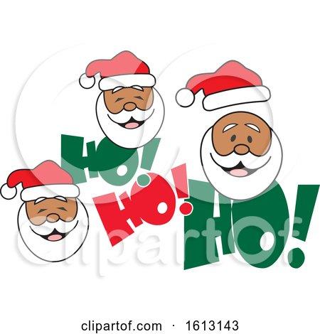 Clipart of Black Santa Faces and Ho Ho Ho Text - Royalty Free Vector Illustration by Johnny Sajem