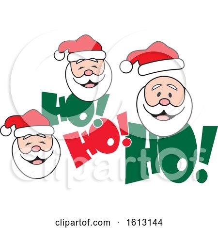 Clipart of White Santa Faces and Ho Ho Ho Text - Royalty Free Vector Illustration by Johnny Sajem