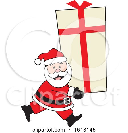 Clipart of a Happy White Santa Clause Carrying a Giant Gift - Royalty Free Vector Illustration by Johnny Sajem